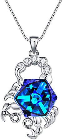 Amazon.com: EleQueen 925 Sterling Silver CZ Square Gemini Zodiac Constellation Sign Pendants Necklace Blue Made with Crystals: Clothing