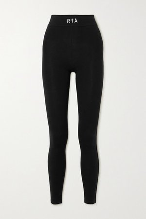 Sibille Embroidered Stretch-cotton Jersey Leggings - Black