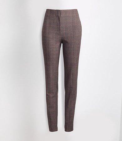 Petite Plaid High Waist Slim Pants in Curvy Fit