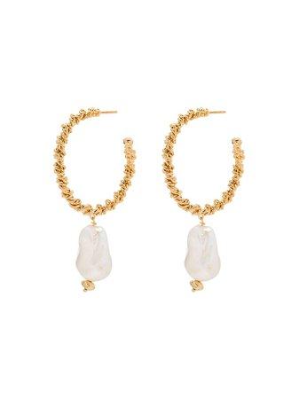 Joanna Laura Constantine gold-plated Pearl Hoop Earrings - Farfetch