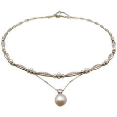 Art Deco Pearls and 7 Carat Diamonds Necklace For Sale at 1stdibs