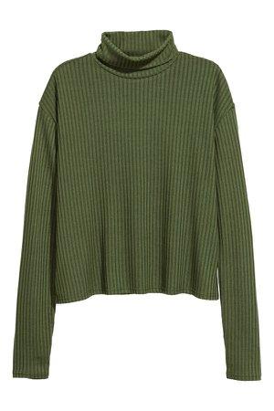 Ribbed polo-neck jumper   Dark green   LADIES   H&M ZA