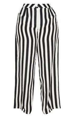 Plus Black Striped Wide Leg Trousers | PrettyLittleThing