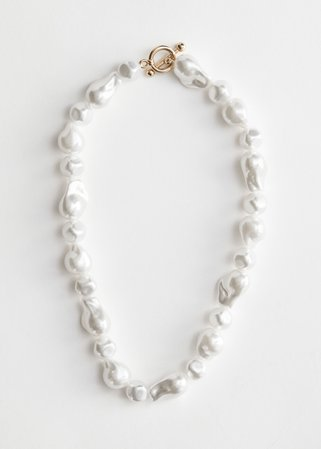 Organic Pearl Bead Necklace - White - Necklaces - & Other Stories
