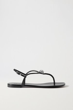 Crystal-embellished Leather Sandals - Black