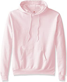 Hanes Men's Pullover Ecosmart Fleece Hooded Sweatshirt, pale pink, Large at Amazon Men's Clothing store