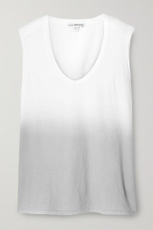 Ombre Cotton-jersey Tank - White