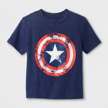 Toddler Boys' Marvel Captain America Shield Short Sleeve T-Shirt - Navy : Target