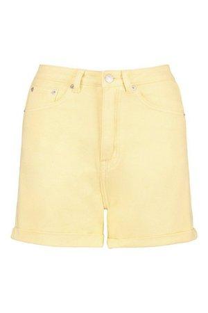Denim Short | boohoo yellow