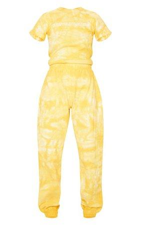 Plt Yellow Tie Dye Thick Rib Jumpsuit | PrettyLittleThing USA
