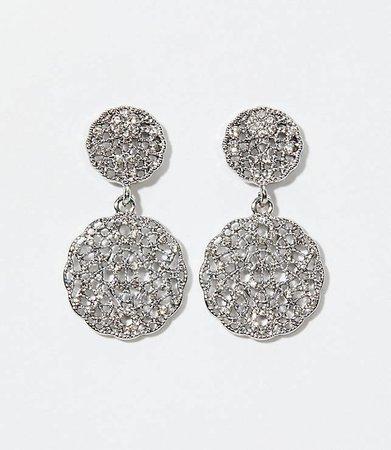 Round Pave Filigree Drop Earrings | LOFT