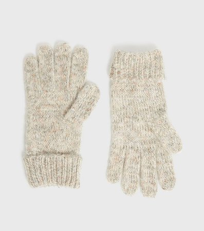 Off White Ribbed Knit Gloves   New Look