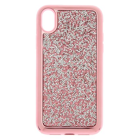 Pink Crushed Stone Protective Phone Case - Fits iPhone XR | Claire's US