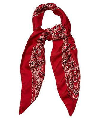 Saint Laurent Bandana-print Silk-twill Scarf Poppy-red Womens,yves saint laurent dress,premier fashion designer, yves saint laurent ysl shop new collection