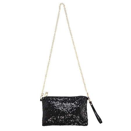 Amazon.com: LUOEM Glitter Handbag Purse Shoulder Bag Sequin Evening Clutch for Women (Black): Clothing