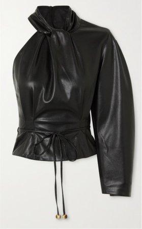 black leather one sleeve shirt