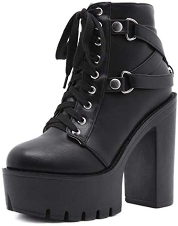 Amazon.com   heelchic Women's Sexy Rivet Mid Claf Platform High Chunky Block Heeled Ankle Boots Ladies Punk Club Dress Boots   Ankle & Bootie
