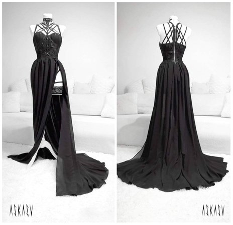 "ASKASU on Instagram: ""New evening gown 🌙 #gown #black #dress #lace #chiffon #harness #darkfashion #night #redcarpet #design #sewing #longdress #goth #gothic…"""