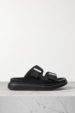 Black Leather exaggerated-sole sandals   Alexander McQueen   NET-A-PORTER