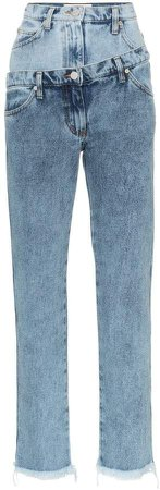 double-waisted straight jeans