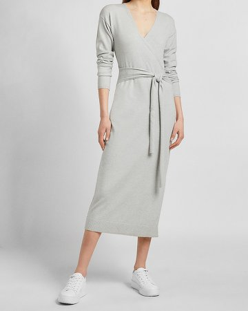 Belted Wrap Front Midi Sweater Dress