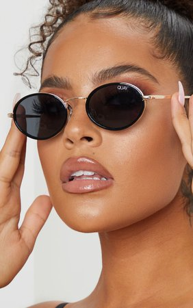Quay Australia Black Round Gold Bar Sunglasses | PrettyLittleThing