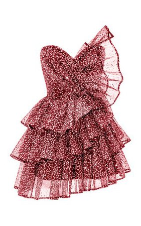 RASARIO : Ruffled Sequined Tulle Corset Mini Dress