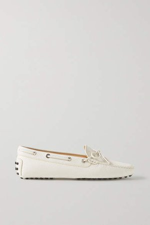 Gommino Textured-leather Loafers - Off-white