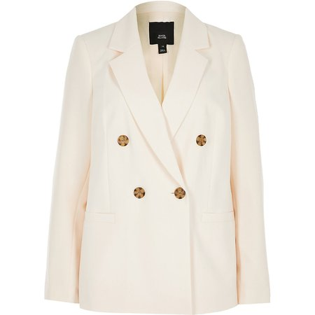 Light beige double breasted blazer | River Island