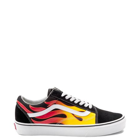 Vans Old Skool Flames Skate Shoe - Black | Journeys
