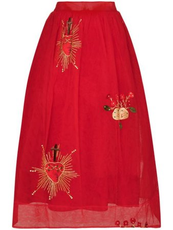 Shop red Simone Rocha x Browns 50 embroidered midi skirt with Express Delivery - Farfetch
