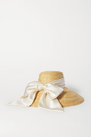 Eugenia Kim | Mirabel satin-trimmed straw hat | NET-A-PORTER.COM