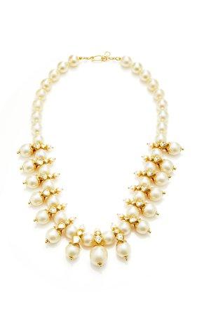Raj 22k Gold Pearl and Diamond Necklace by Sanjay Kasliwal | Moda Operandi
