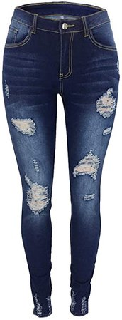 Atditama Women's Mid Rise Waisted Distressed Ripped Jeans Cute Skinny Slim Stretch Destroyed Denim Jogger Pants Dark Blue US 14-16 at Amazon Women's Jeans store