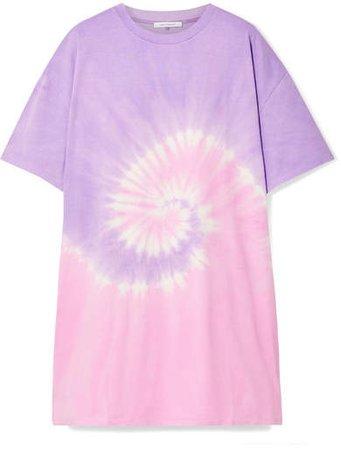 Tie-dyed Organic Cotton-jersey Mini Dress - Purple