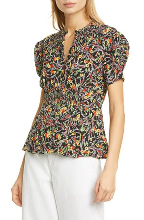 Polo Ralph Lauren Floral Smocked Top | Nordstrom