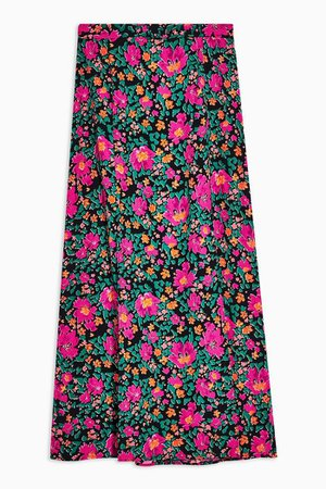 Pink Floral Bloom Print Split Midi Skirt | Topshop