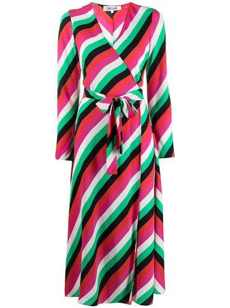 Shop pink & red DVF Diane von Furstenberg stripe-print midi dress with Express Delivery - Farfetch