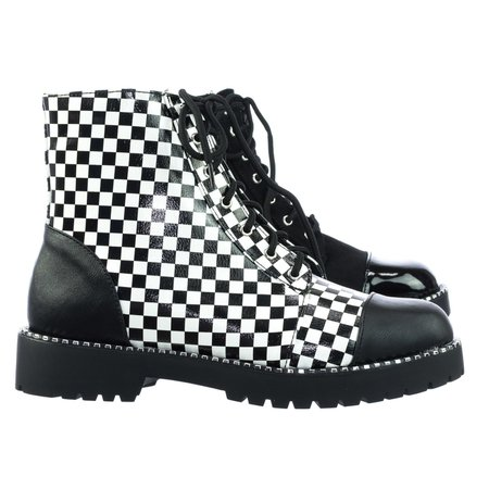 Black/white checkered boots