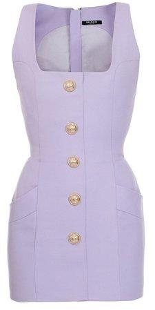 Balmain Button-Detailed Wool Mini Dress