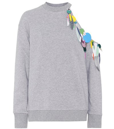 Embellished cotton sweatshirt