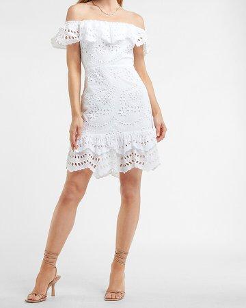 Eyelet Lace Off The Shoulder Dress