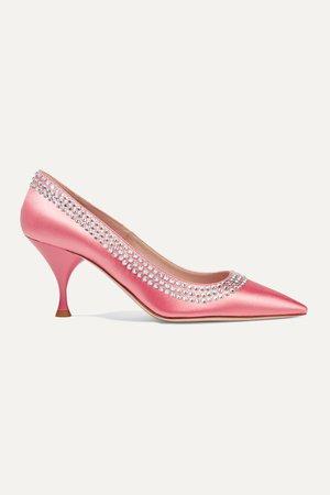 Pink Crystal-embellished satin pumps   Miu Miu   NET-A-PORTER