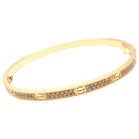 Cartier Love Pave Diamond Small Model Rose Gold Bangle Bracelet For Sale at 1stdibs