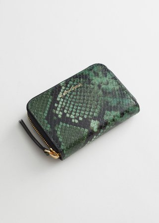 Snake Embossed Leather Wallet - Green Snake - Wallets - & Other Stories