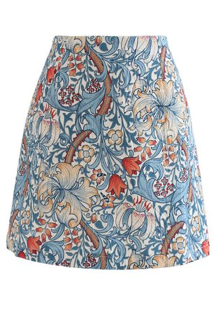 Tulip Print Embossed Bud Skirt in Blue - Retro, Indie and Unique Fashion