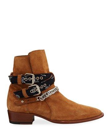Amiri Men's Bandana Buckle Ankle Boots