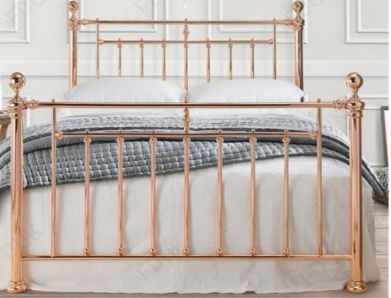 gold iron bed