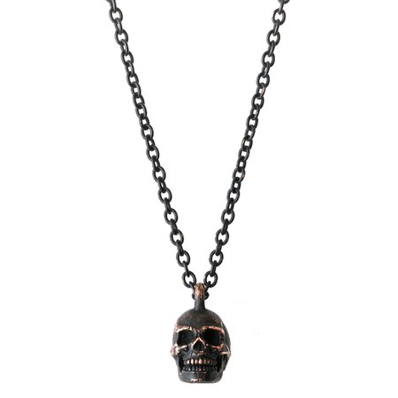 """Silver League sur Instagram: Number (N)ine Skull Necklace - SS06 """"Welcome to the Shadow"""" by Takahiro Miyashita No size Details Brass metal coated with black…"""