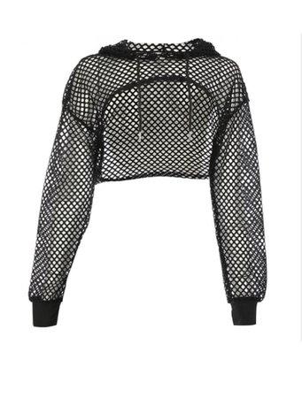 mesh cropped hoodie